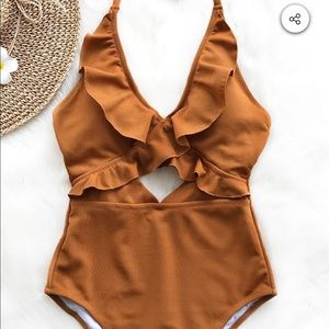 NWT Cupshe one piece swimsuit burnt orange brown